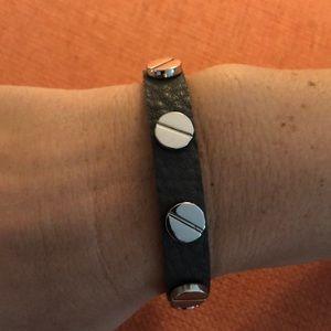 Jewelry - NWT  gray leather bracelet with silver studs